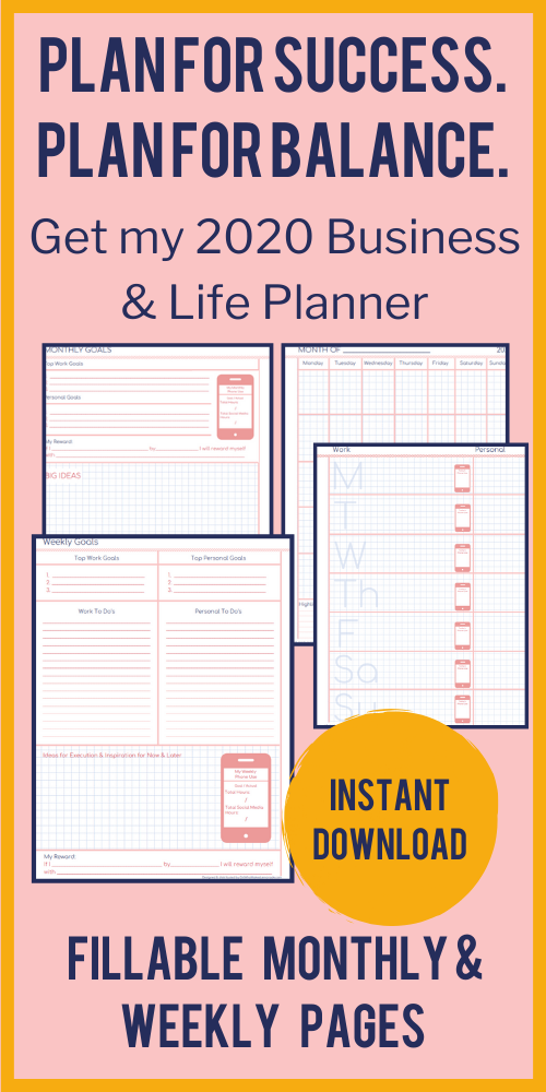 Ad for 2019 Business & Life Planner on Etsy